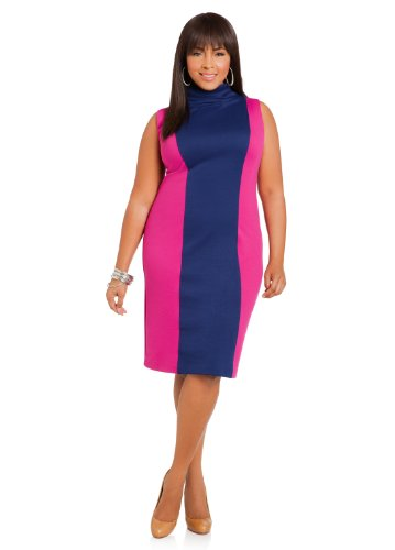 Ashley Stewart Womens Plus Size Sleeveless Color Block Sheath Bougainvillea 24