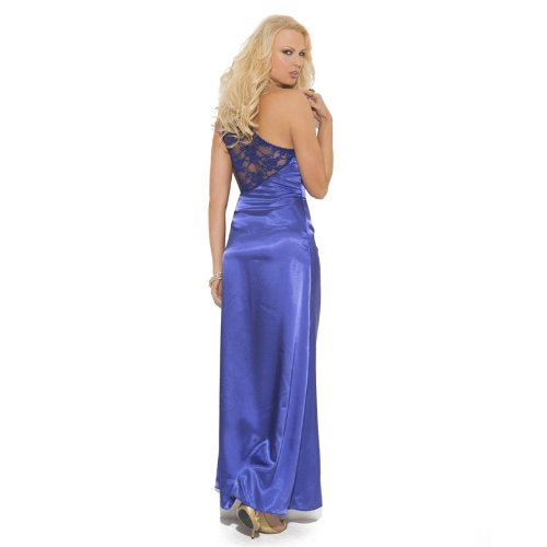 Elegant Moments Women's Charmeuse & Lace Gown with One Shoulder