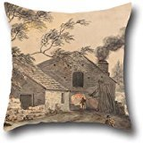 Pillow Covers Of Oil Painting Paul Sandby - Iron Forge On The River Kent, Westmorland,for Dining Room,bf,husband,floor,kids,gril Friend 16 X 16 Inches / 40 By 40 Cm(2