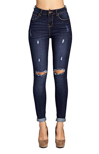 Blue Age Women's Well Stretch Destroyed Denim Skinny Jeans (JP1083CTA_DK_7)