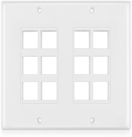 10 Pack - Keystone Insert Jack Single Gang Wiring Plug Socket Decorative Face Cover Outlet Mount Panel with Screws White TNP Keystone Wall Plate 12 Port