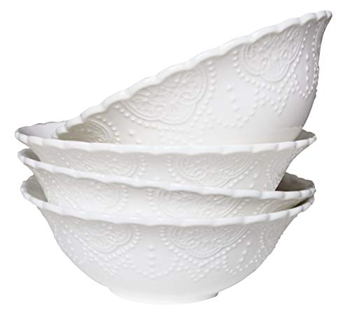 Cereal Soup Bowls Set 4 New Bone China, White Scalloped Embossed Pattern, 15 OZ, Holiday Kitchen Gift