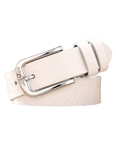 Chicwe Women's Plus Size Antique Embossing Genuine Leather Waist Belt with Alloy Buckle White - Careers Alloy