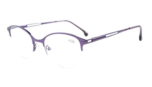 Eyekepper Quality Spring Hinges Half-Rim Cat-eye Style Reading Glasses Purple - Purple Eye Cat Contacts