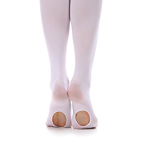 iMucci Velvet Convertible Ballet Dance Tights White Thin (Dance Costumes White)