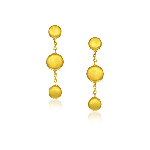 14K Yellow Gold Pebble Drop Earrings in Satin Finish