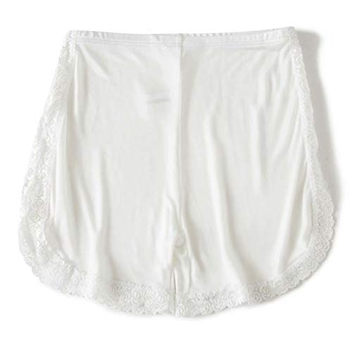 Zylioo Women`s Mulberry Silk Knitted Lace Pettipants Bloomers Split Slip Shorts Sleep Short White