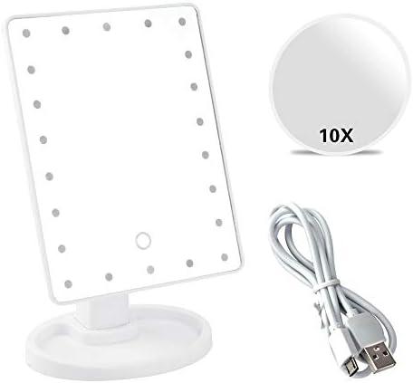 22 LEDライトタッチスクリーン化粧鏡付きの10倍拡大鏡化粧品は、アップミラーUSBまたはバッテリーを作ります