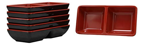 Ebros Red And Black Melamine Traditional Design Condiments Ketchup BBQ Soy Sauce Dipping Bowl or Dish With Divider 2 Partition Compartments Housewarming Gifts For Sushi Asian Dining Restaurant Supply 2 Compartment Sauce Dish