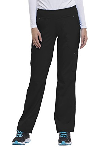Purple Label Yoga Women's Tori 9133 5 Pocket Knit Waist Pant by Healing Hands Scrubs- Black- Large Bootcut Scrub Pants