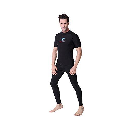 Coreskin Wetsuits Men's Polyolefin 3mm Short Shirt Surfing Padding Diving Rash Guard Shirt Mesh Skin Shorts(XL (Polyolefin Rash Guard)