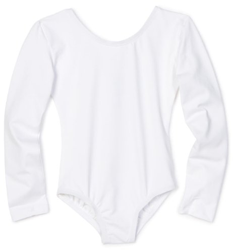 Danskin Big Girls' Long-Sleeve Leotard, White,