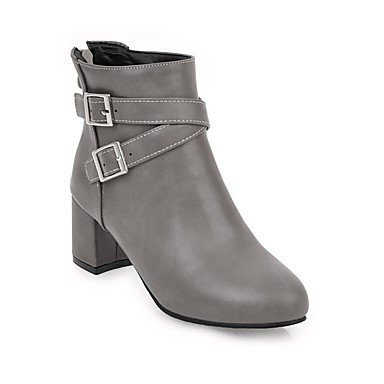 RTRY Women's Shoes Leatherette Fall Winter Fashion Boots Bootie Boots Chunky Heel Round Toe Booties/Ankle Boots Buckle Zipper For Casual Dress US10.5 / EU42 / UK8.5 / CN43 AhZo5WJg