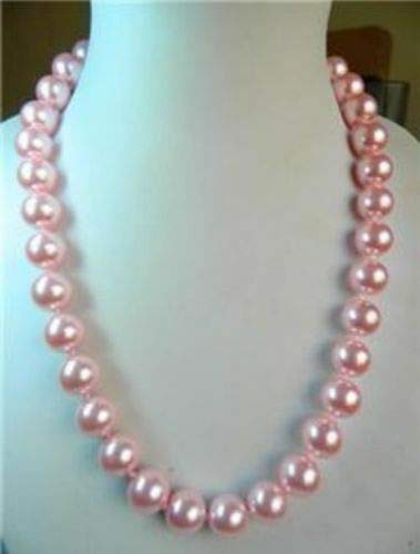 FidgetKute 16-50 inches Pretty 10mm Pink South sea Shell Pearl Necklace AAA+ Pink 10mm