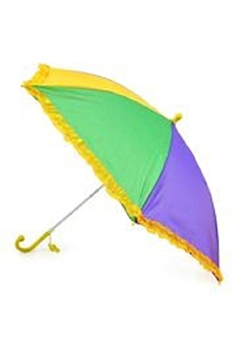 18in long Nylon Mardi Gras Umbrella w/ Frilly Edge 32in open Has a whistle attached to the handle