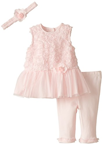 Little Me Baby-Girls Newborn Rosette Dress and Legging Set, Light Pink, 12 Months
