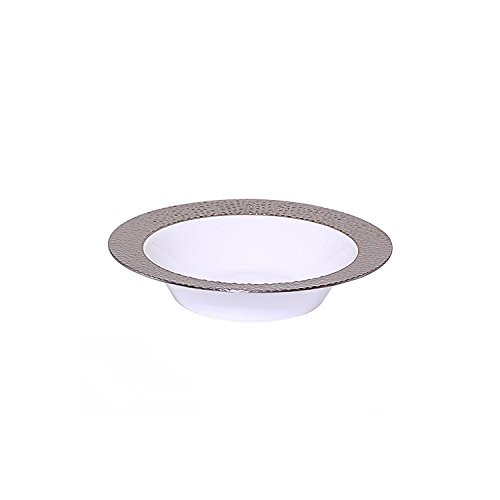 Round White Food (Party Bargains Disposable Plastic Bowl | Silver Touch Collection Elegant High Gloss Hammered Border Designed Bowls Ideal for Catering, Food serving, Picnics & Parties - 5oz Round White | Pack Of 40)