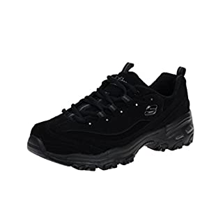Skechers Sport Women's D'Lites Play on Memory Foam Lace-up Sneaker,Black/Black,7 W US