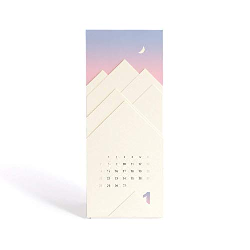 """""""The Disappearing Snowy Mountain"""" 2020 Mini Desk Calendar With Stand - 3.5 x 8 inch - Modern Paper Cut Design - New Year and Christmas Gift"""