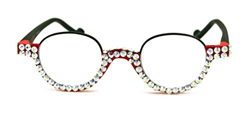 The Bellagio, Round Women Bling Reading Glasses with Full Bottom AB (Borealis Aurora) Swarovski Crystals +1.50, 2.00, 2.50, 3.00 Circle Red + Black - Bellagio Crystal