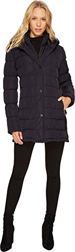 Hooded Mid Length Coat (Calvin Klein Women's Hooded Puffer Mid-Length with Knit Side Navy Medium)