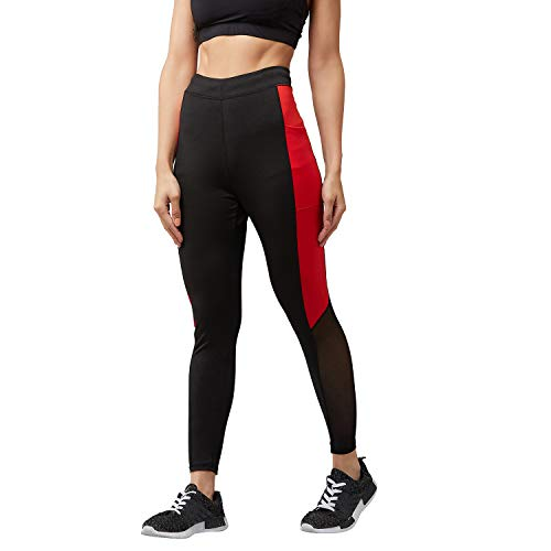 BLINKIN Mesh Yoga Gym Dance Workout and Active Sports Fitness Polyester Leggings Tights with Mesh for Women|Girls with side Pockets (1869)