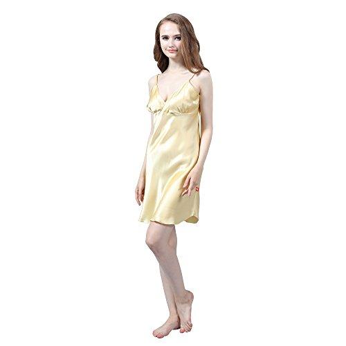 LULUSILK Camisón de Seda 19 Momme Correas de Espagueti Escote Cruzado para Mujeres Oro