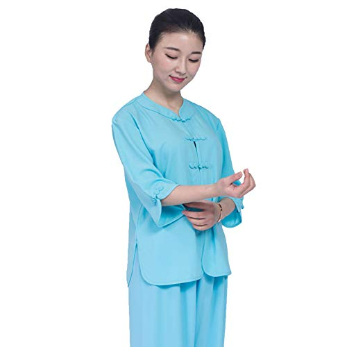 ZHL&M Tai Chi Uniform Clothing - Women Shaolin Martial Arts Short Sleeve Clothing Manual Manufacture Tai Chi Kung Fu Taekwondo Training Clothing for Beginners Women Arthritis,Blue,S