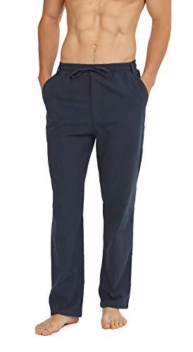 WULFUL Mens Drawstring Casual Beach Trousers Lightweight Linen Summer Pants Navy