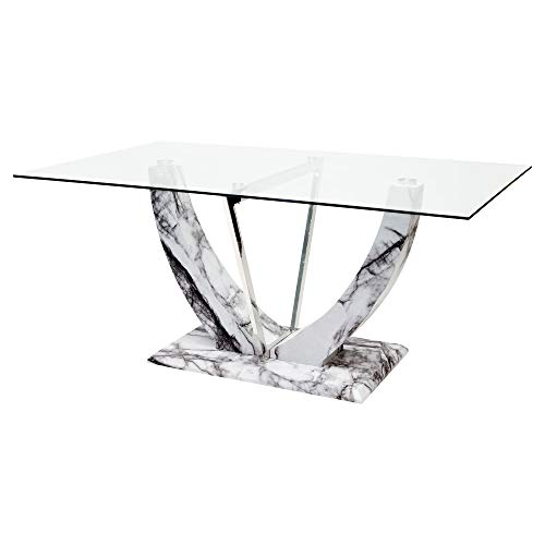 Febland Jericho Rectangular Glass Top Dining Table With Marble Effect Base Grey One Size Buy Online In India At Desertcart In Productid 124432190