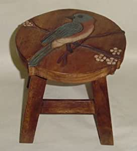 Bluebird Hand Carved and Hand Painted Wooden Foot Stool