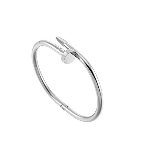(WMISIY Bangle Bracelet for Women,Fashion Titanium Diamond Bracelet for Mothers Girls,Silver,Gold,Rose Gold Ladies Bracelet,Gifts for Her (Silver))
