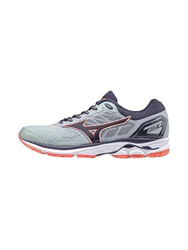 Mizuno Women's Wave Rider 21 Running Shoe Athletic Shoe, high rise/gray stone, 7 B US