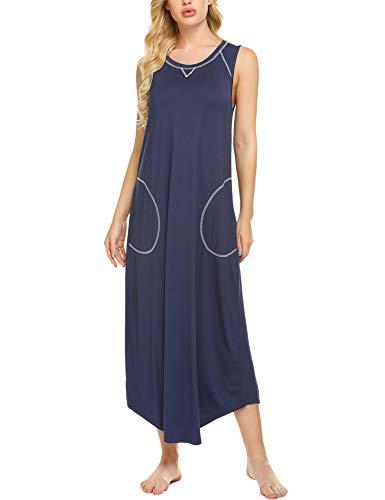 Ekouaer Long Nightgown Women's Loungewear Sleeveless Sleepwear Full Length Sleep Dress