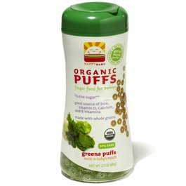 HAPPYBABY Organic Puffs, Greens Puffs, 2.1-Ounce Containers (Pack of 6) ( Value Bulk Multi-pack)