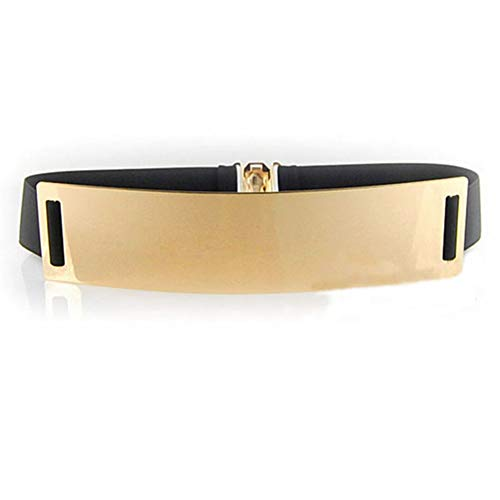 HaoPiDai Waist Belt For Women Dress Gold Elastic Womens Belts Wide Plaste 6cm Width ()