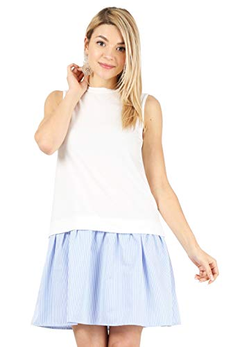 Low Waist Dress - Womens Sleeveless Low Waist Above Knee Shift Dress with Stripe Ruffle Hem Reg. and Plus Size - Made in USA (Size XXX-Large US 18-20, Ivory/Denim White)