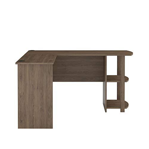 Ameriwood Home Dakota L-Shaped Desk with Bookshelves, Rustic Oak (Bookshelves Thin)