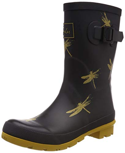Joules Women's Molly Welly Rain Boot (6 Medium, Black Dragonfly) (Best Wide Calf Boots 2019)