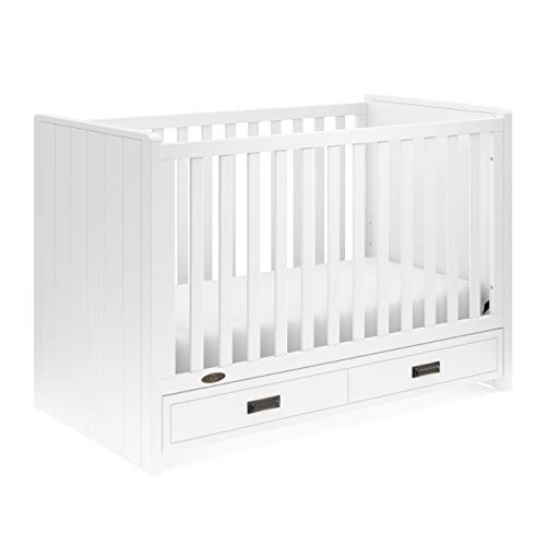 (Graco Cottage 3-in-1 Convertible Crib with Drawer (White) - Easily Converts to Toddler Bed and Daybed, 3-Position Adjustable Mattress Support Base, Space-Saving Storage Drawer, Large)