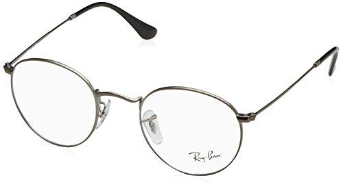 Ray-Ban RX3447V Round Metal Eyeglass Frames, Matte Gunmetal/Demo Lens, 47 -