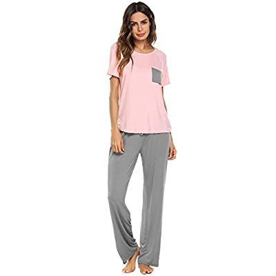 Vansop Women's Short Sleeve Shirt and Long Pajama Pants Sleepwear Set(S-XXL)