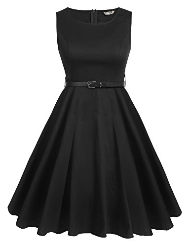 [ACEVOG Round Collar Sleeveless Vintage Tea Dress with Belt (Black, XXL)] (1950 Dress)