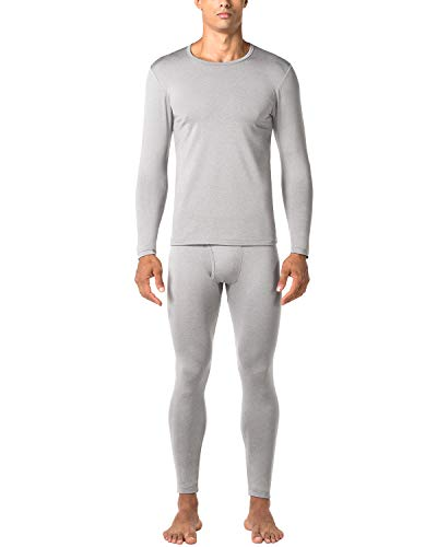 LAPASA Men's Thermal Underwear Long John Set Fleece Lined Base Layer Top and Bottom M11 (Medium, Midweight Grey) ()