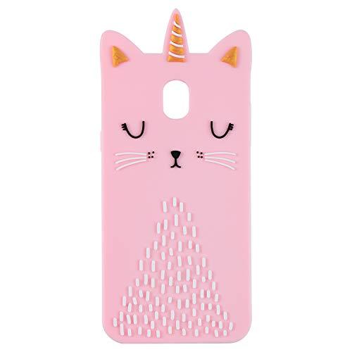 Funermei Cat Unicorn Case for Samsung J7 2018(J737),J7 Refine J7 V 2nd Gen Silicone 3D Cartoon Animal Pink Cover,Kids Girls Cool Cute Cases,Kawaii Soft Gel Character Protector for Samsung J7 Star 2018