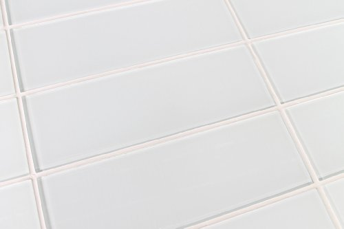 10 Sq Ft of Snow White 4x12 Glass Subway Tiles by Rocky Point Tile