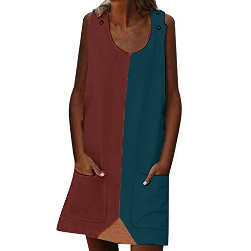 (LYNStar✔ Women's Long Sleeve O Neck T Shirt Contrast Dress Casual Sleeveless Tribal Print Bodycon Dress Pocket Red)