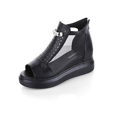 LvYuan Tacón Plano-Confort-Sandalias-Vestido Informal-Tul PU-Negro Blanco Plata Black