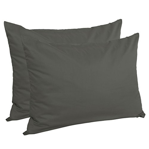 uxcell Zippered Standard Pillow Cases Pillowcases Covers, Egyptian Cotton 300 Thread Count, 20 x 26 Inch, Dark Gray, Set of 2