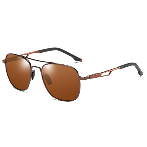 ZHILE Polarized Pilot Sunglasses Military Aviator Style Spring Hinged (Brown frame Brown lens) (Aviator Kosten)